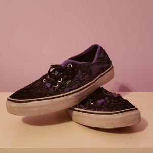 Laced Dark Purple Slip On Vans Sneakers